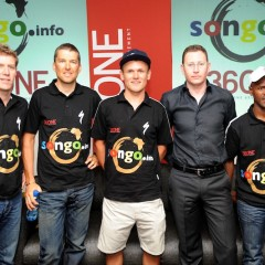 JOHANNESBURG, SOUTH AFRICA - OCTOBER 27, Nic Lamond, Christoph Sauser, Burry Stander, Steven Liptz and Songo Fipaza during the 36ONE Songo-Specialized breakfast from Absa Cape Epic Offices, Sandton on October 27, 2011 in Johannesburg, South Africa Photo by Lee Warren / Gallo Images