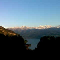 My yesterdays living room view, with some fresh snow on the big mountains.